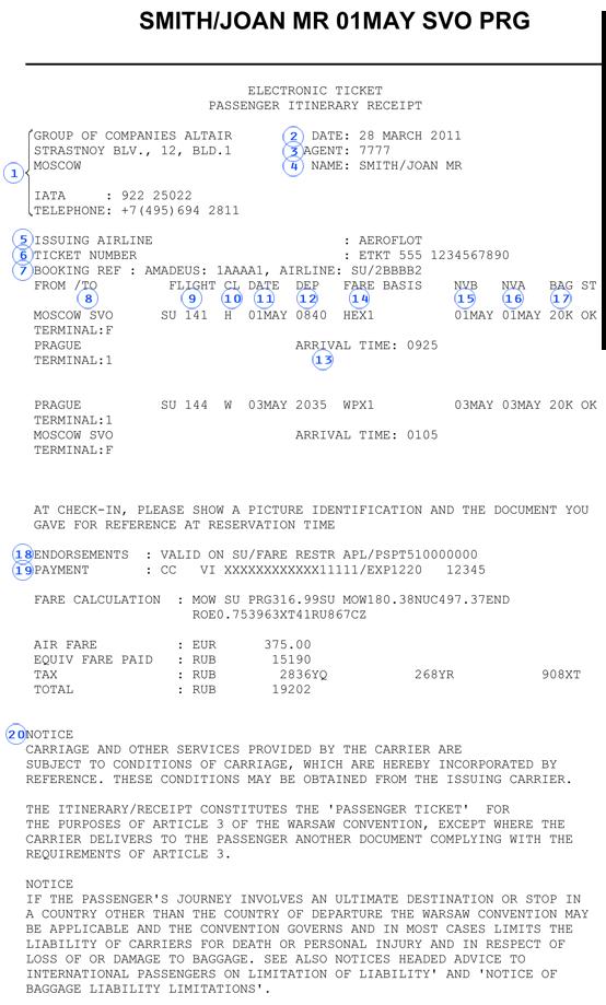 Электронный билет на самолет расшифровка билет на самолет уфа ноябрьск прямой